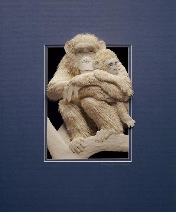 Amazing paper sculpture - chimps