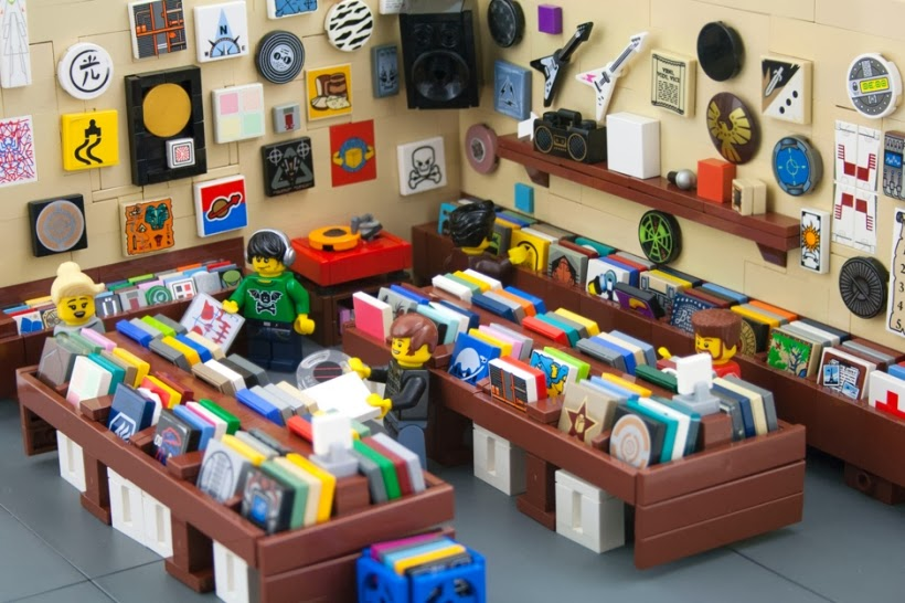 Tiny Indie Record Store made from Lego bricks