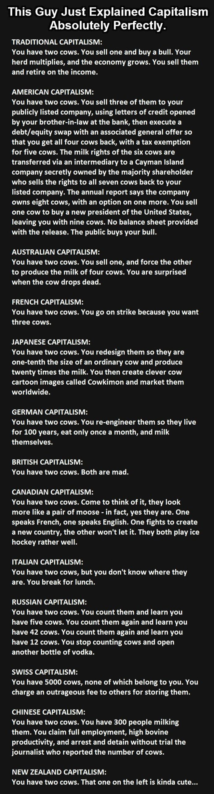 You have 2 cows - capitalism