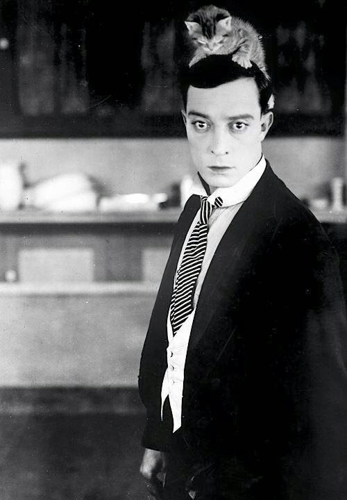 American Actor Buster Keaton in a Black and White photgraphy with a kitten on his head