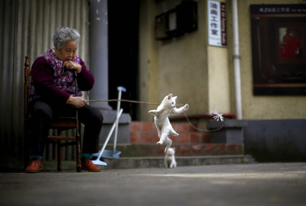A woman plays with a kitten inside of a line house in downtown Shanghai April 12, 2015.