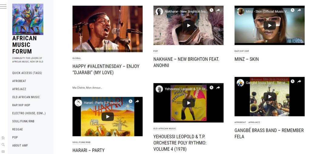 african music forum community - screenshot home 18022019
