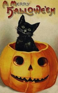 vintage postcard for halloween and caturday