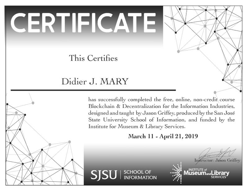 Certificat SJSU blockchain