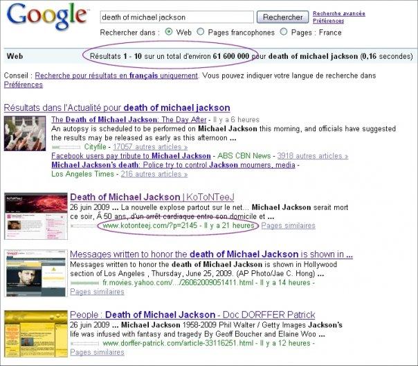 SEO Michael Jackson Google