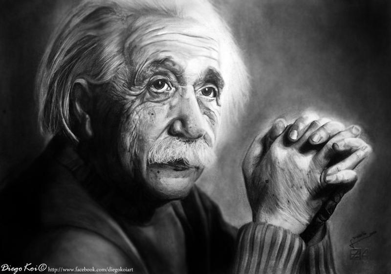Albert Einstein - drawing by DiegoKoi