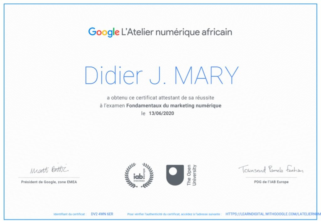 Certificat Google digital