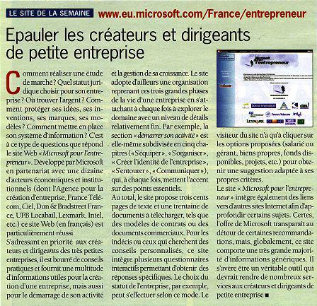 Site de la semaine - Le Monde Informatique - Site Microsoft pour l'Entrepreneur