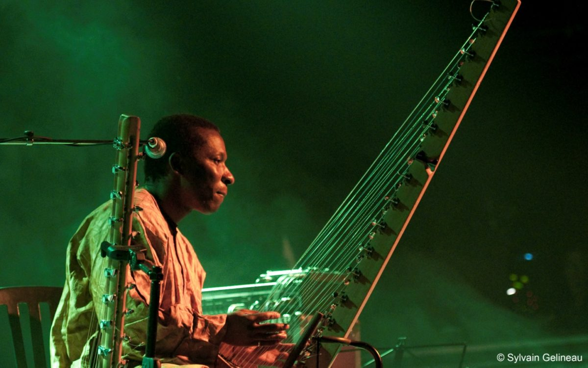 Djeli Moussa Diawara with kora on stage