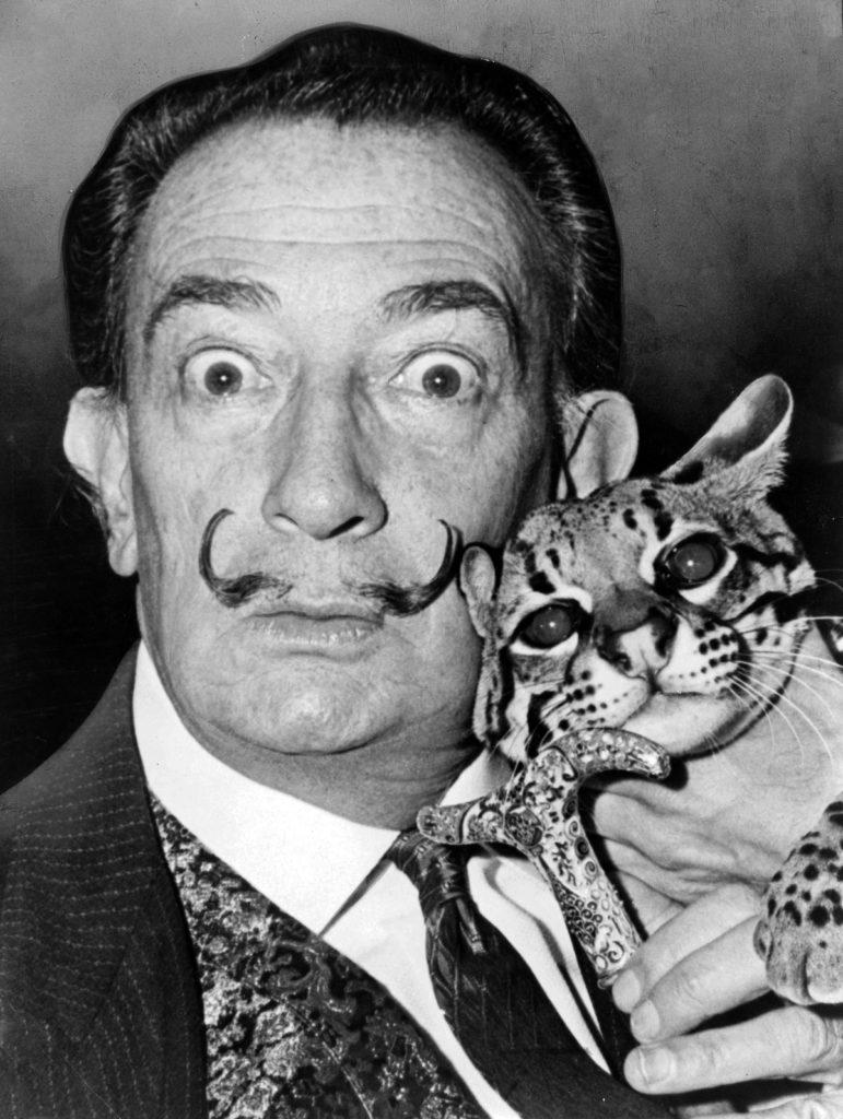 Salvador Dali & his Ocelot cat