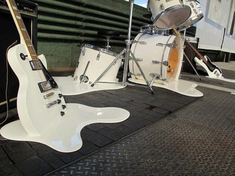 Melting guitar, instruments, music
