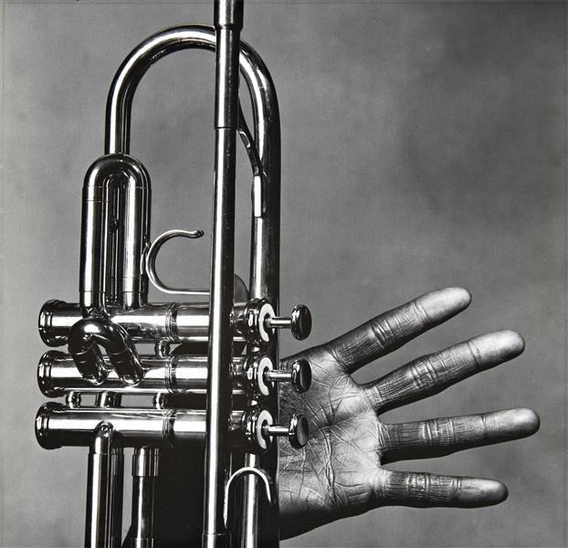 Miles Davis – hand and trumpet – New York, July 1, 1986 by Irving Penn